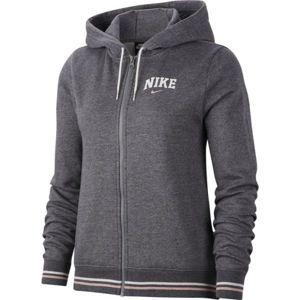 Nike NSW HOODIE FZ FLC VRSTY W šedá XL - Dámská mikina