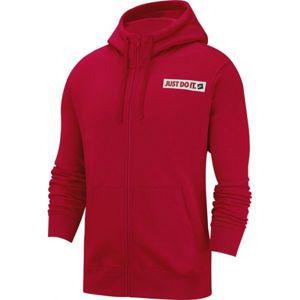 Nike NSW HOODIE FZ FLC BSTR M červená S - Pánská mikina